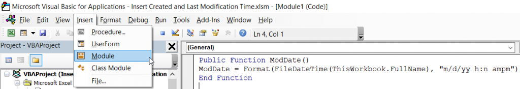 Displaying Last Modification Time in Excel - RowShare