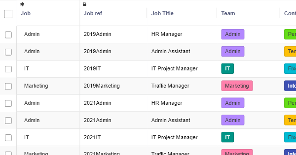 In House Job Opprtunities - HR Table Template - RowShare