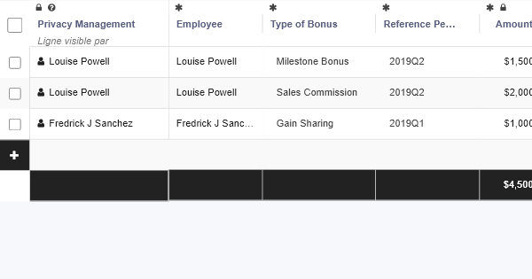 Bonus Review - HR Table Template - RowShare