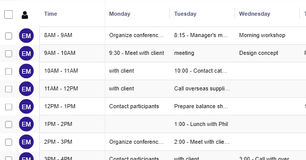 Weekly Schedule - HR Table Template - RowShare